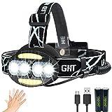 Linterna frontal LED Recargable de Trabajo, con Sensor, Sólo 130g, 8000 Lúmenes, 7 Modos de Luz con Flash, Ligera Elástica, Impermeable para Ciclismo, Correr, Deportes Nocturnos...
